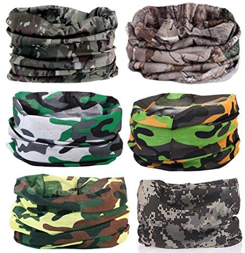 KALILY 6PCS Headband Bandana - Versatile CAMO Sports & Casual Headwear –Multifunctional Seamless Neck Gaiter, Headwrap, Balaclava, Helmet Liner, Face Mask for Camping, Running, Cycling, Fishing etc -