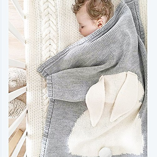 Baby Knitted Cotton Blanket, 30'x40' Cuddle Sheet for Newborn /Infant /Kids, Thick /Soft /Cozy, Double Layer, Breathable, Felt Bunny Ears (Grey &White)