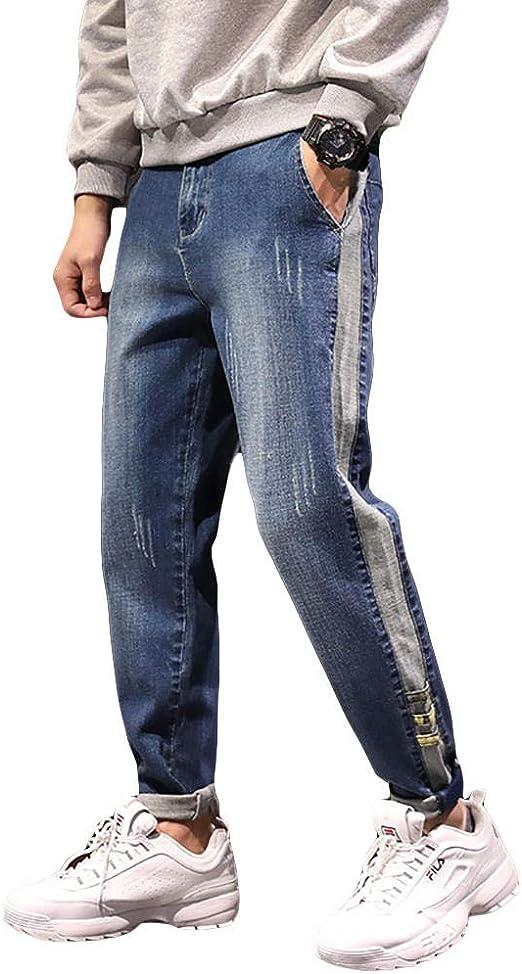 HUASHAN メンズロングパンツ 春と夏の薄いセクションカジュアルルーズジーンズメンズライトパンツ大きいサイズの小さな足ハーレムパンツ9点パンツ