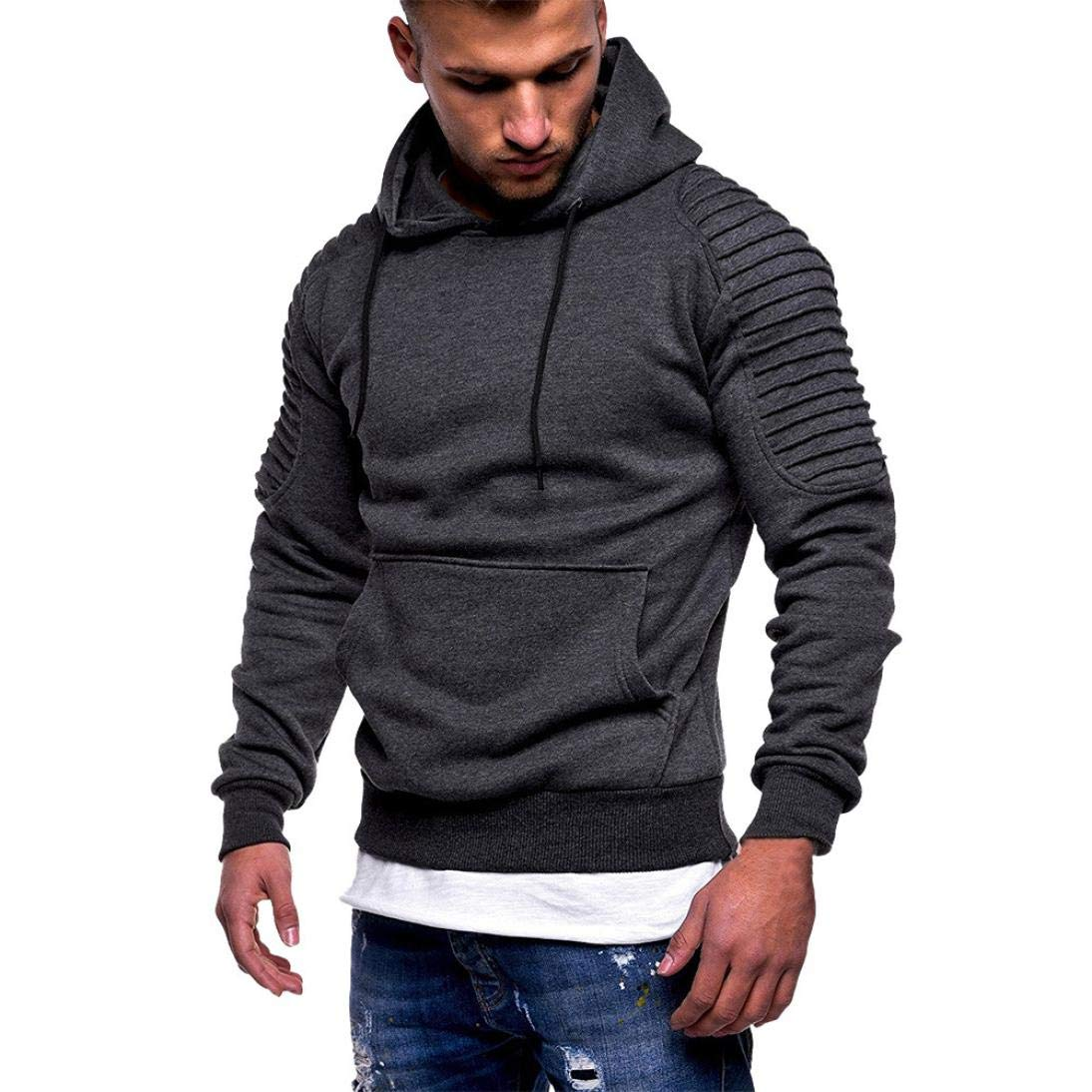 Autum Winter Long Sleeve Pocket Patchwork Hooded Mens' Sweatshirt Tops Premium Quality Fleece Outwear (Dark Gray, M)