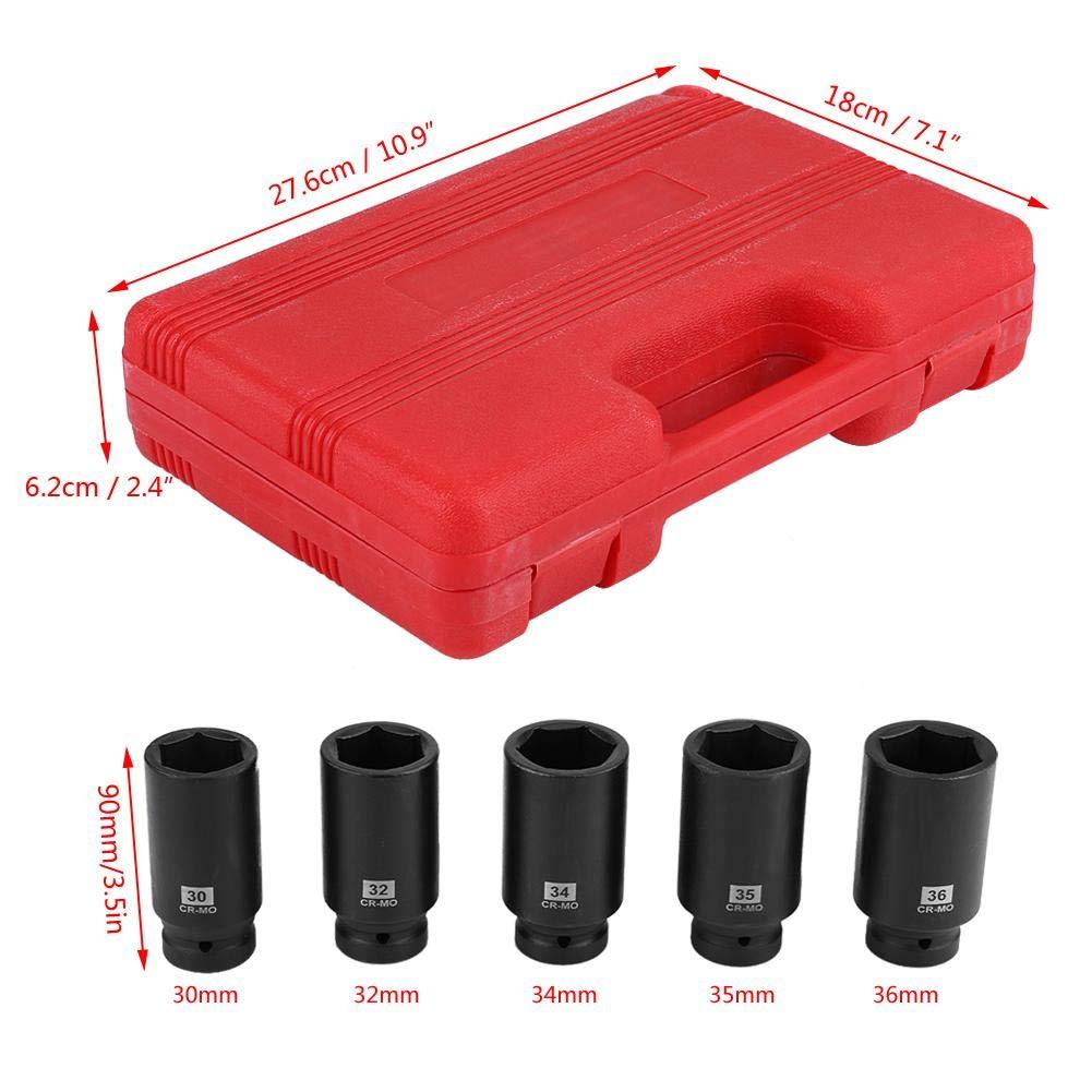 Juego de 5 Piezas Llaves de Vaso 1//2 Hexagonales Profesional 30mm 32mm 34mm 35mm 36mm con Malet/ín Rojo