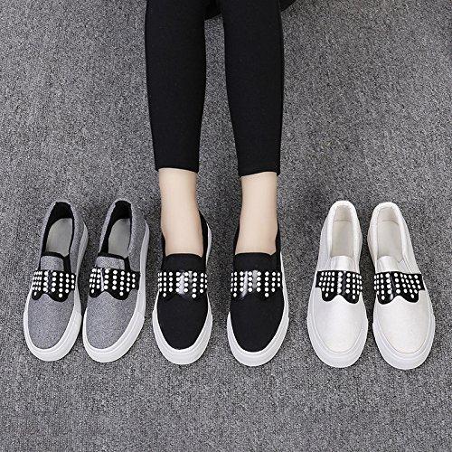 Noir En Occasionnels Plates Pédales De Marche Confort Chaussures Femmes Respeedime Chaussures Toile Cuir De x7aqn7YO