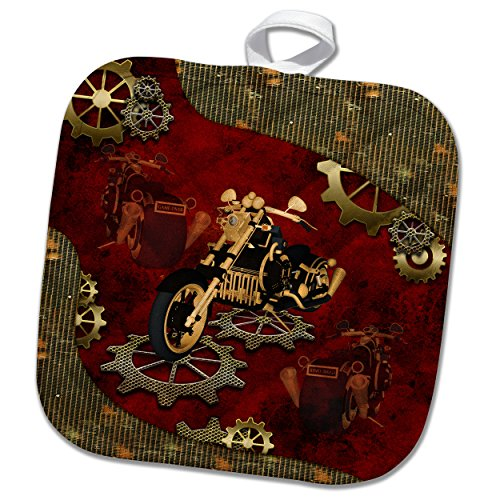 3dRose Steampunk, Awesome Motorcycle with Gears Potholder 8 x 8 ()