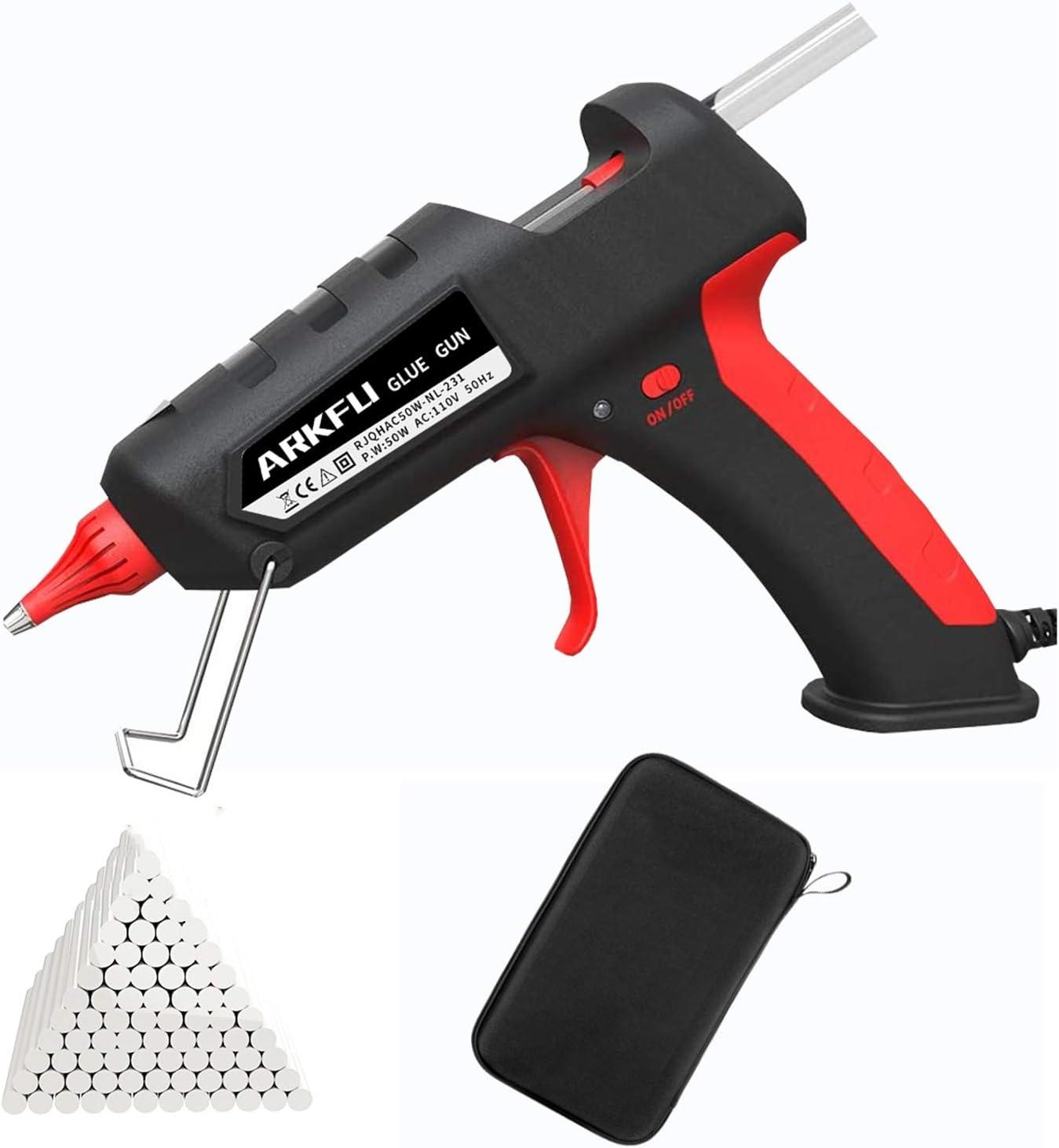 Glue Gun Sets, ARKFU Mini Hot Melt Glue Gun 50w Kit with 30pcs(5.9x0.27 inch) Glue Sticks and Carry Case for DIY, Packaging & Sealing, Arts & Craft, Home Quick Repairs Etc(Black)