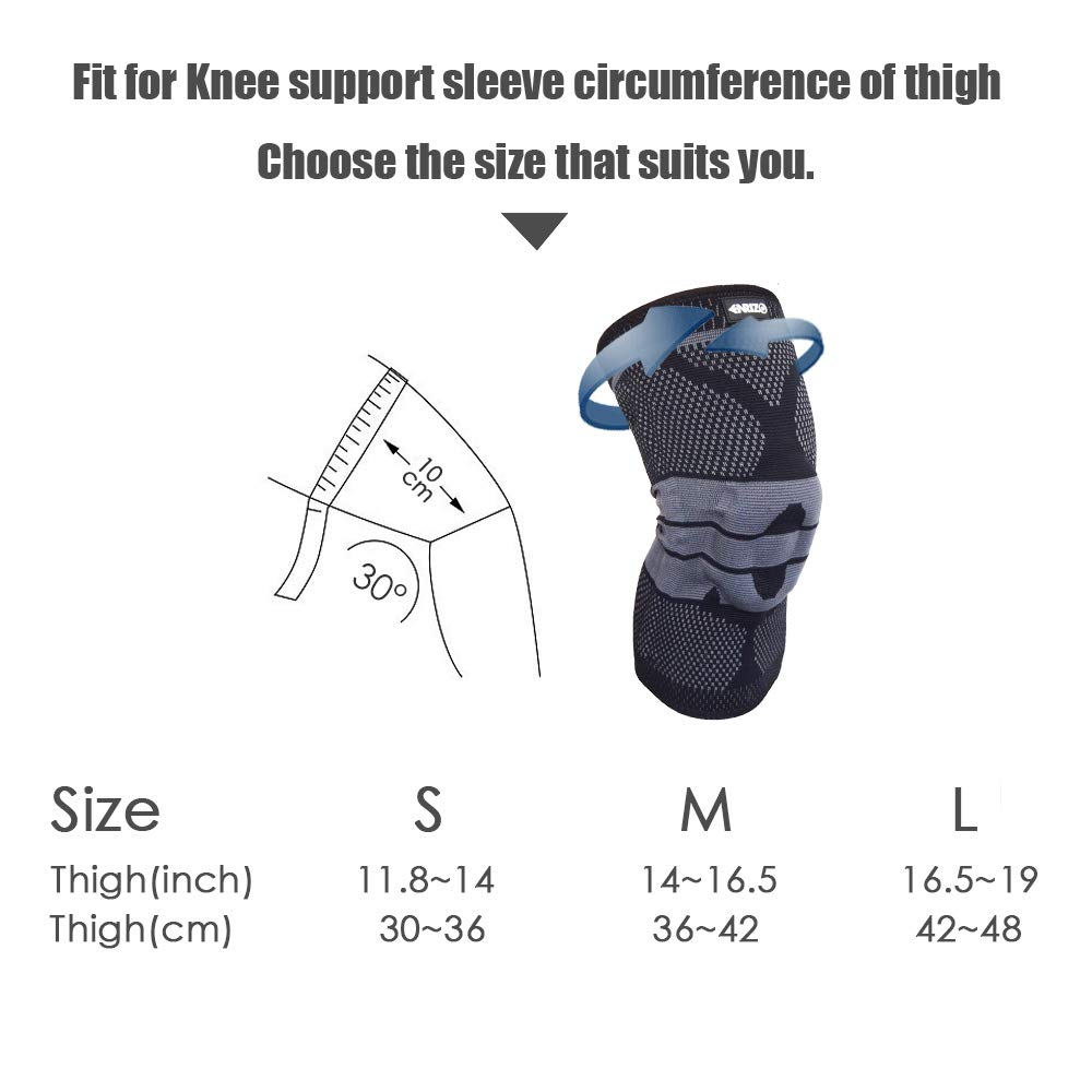 Enrizo Sports Knee Support Pads Brace Compression Knee Sleeve for Women /& Men with Running,Weightlifting,Powerlifting,Volleyball Tennis Soccer,Basketball