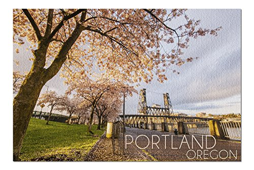 (Portland, Oregon - Cherry Blossoms and Waterfront (20x30 Premium 1000 Piece Jigsaw Puzzle, Made in USA!))