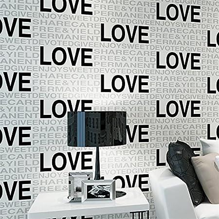 MDDW Modern Minimalist Fashion Bump Letter Love Non Woven Wallpaper Bedroom Living Room Wall