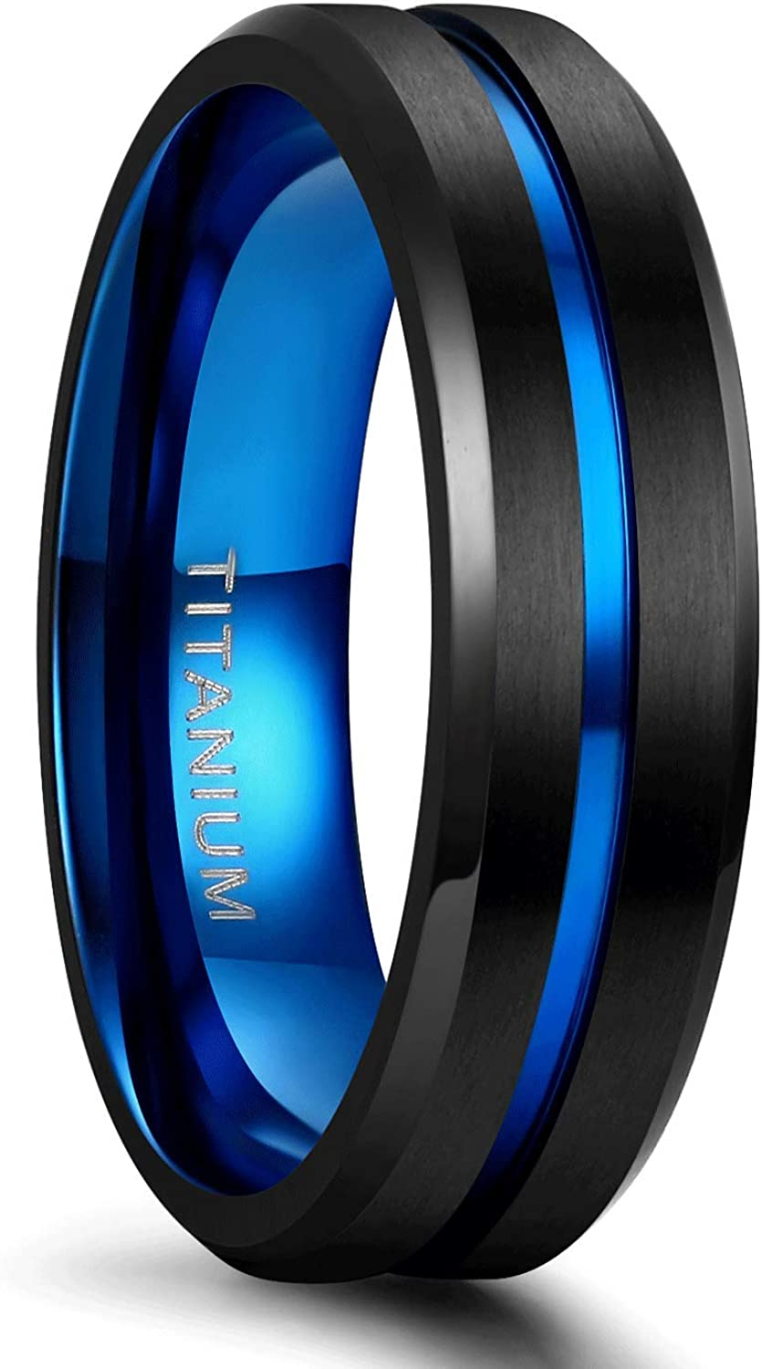 TIGRADE Titanium Ring 6mm 8mm Blue Centre Groove Wedding Band Comfort Fit Matte for Men Women