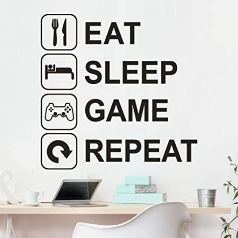 FTXJ Eat Sleep Game Repeat Wall Decal Gaming Vinyl Sticker Joystick Gamepad  Gamer Wall Art Design