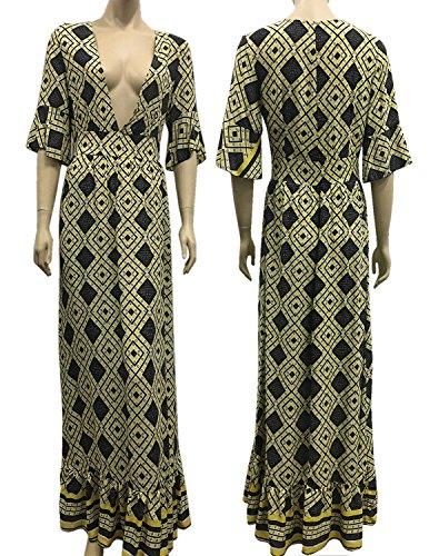 MODETREND Mujer Vestido Casual Verano de Manga Corta Deep V-Neck Vestidos de Fiesta Largos de Noche Playa Vacaciones Amarillo
