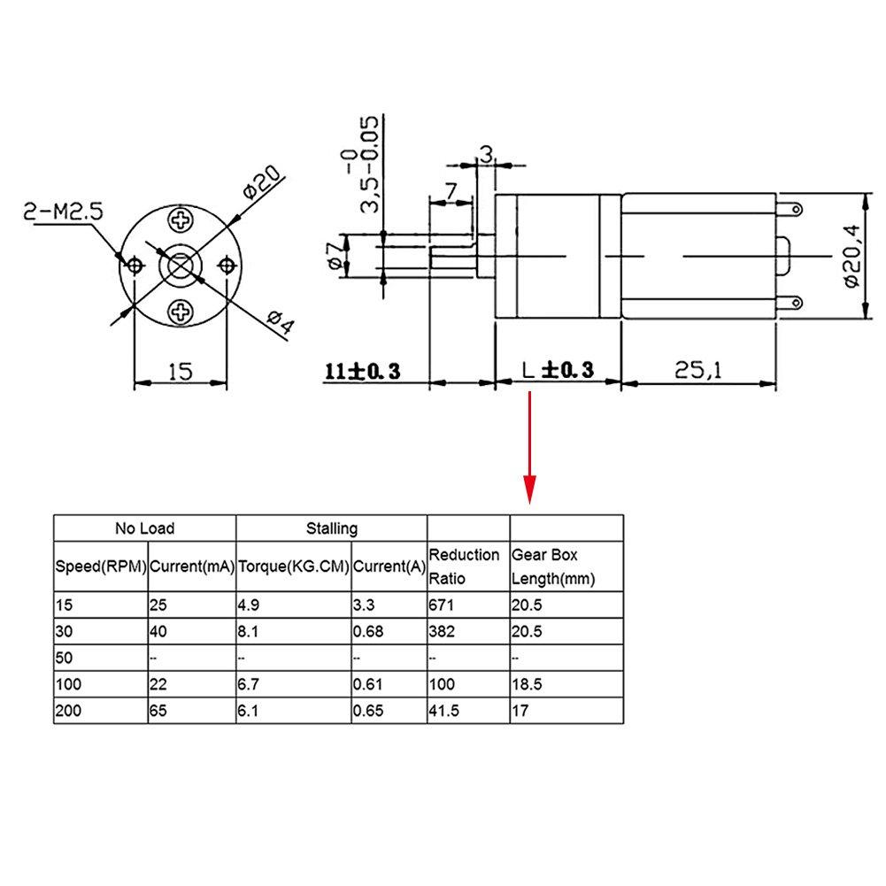 100 U//min Akozon Gear Motor DC 12V Motor de reducci/ón de engranajes el/éctricos de alto par de torsi/ón 15~200RPM Di/ámetro exterior 20MM