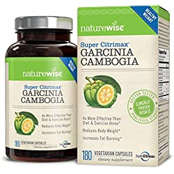 NatureWise Clinically Proven Super CitriMax Garcinia Cambogia with 4x Greater Fat Burning & Weight Loss Plus Appetite Control, 500 mg, 180 count