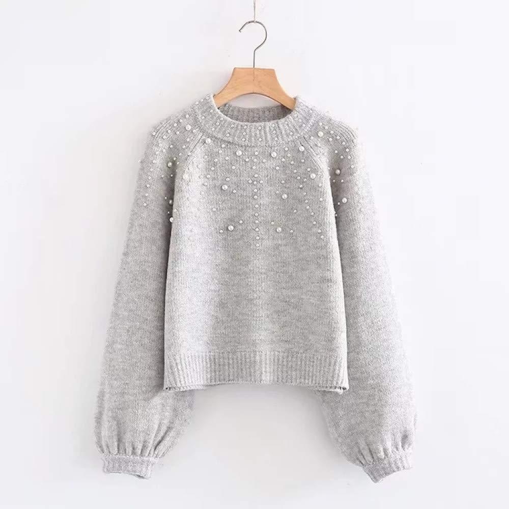 FUHENGMY Pullover Frauen-Perlen-Pullover Wulstige Rippe Stricken Pullover-Weibliche Warme Strickjacke-Dame Stand Collar Long Sleeve Winter-Strickjacke