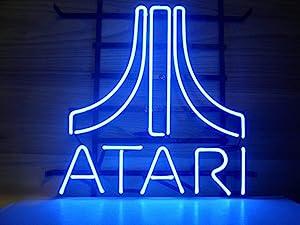 "Queen Sense 14""x10"" Blue Atari Arcade Video Game Room Neon Sign Light Beer Bar Pub Man Cave Real Glass Lamp DE12"