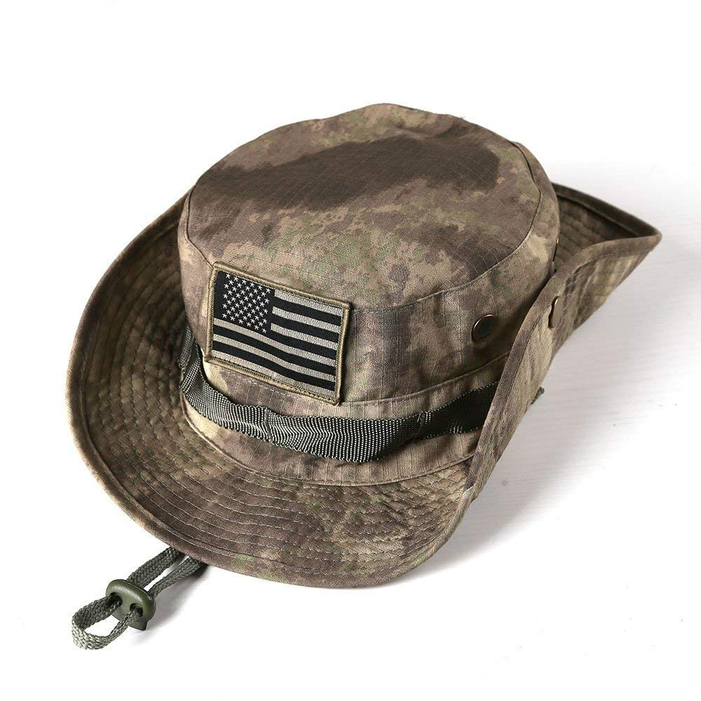 Chinmor Military Tactical Head Wear/Boonie Hat Cap for Wargame,Sports,Fishing &Outdoor Activties ACU Camouflage with USA Patch by Chinmor