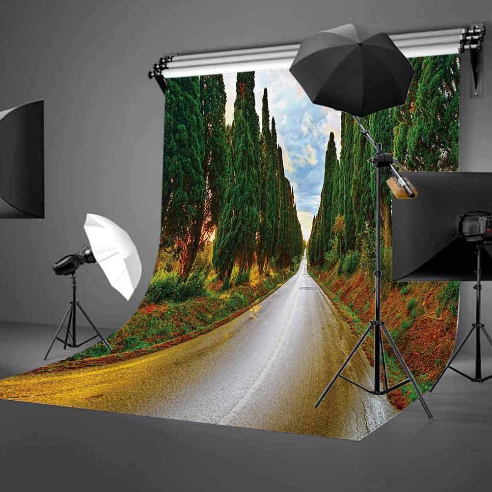 Italian 6.5x10 FT Photography Backdrop Boulevard with Trees Old European Village Country Life Destination Artistic Photo Background for Child Baby Shower Photo Vinyl Studio Prop Photobooth Photoshoot