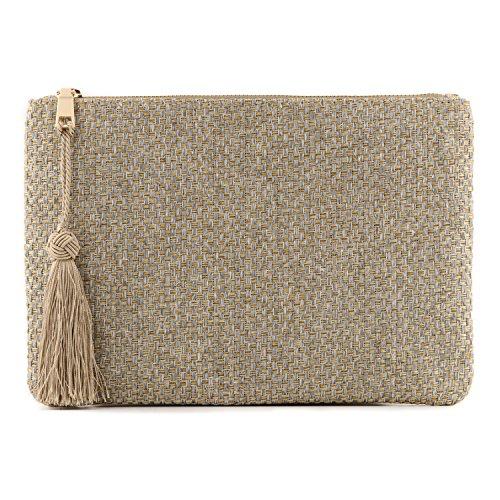 - Otto Angelino Designer Women's Bohemian Clutch Purse - Multiple Slots Money, Cards, Smartphone - Ultra Slim (Silver Checkerboard)
