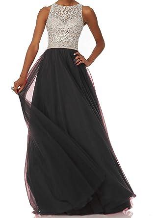 041048c19af LovingDress Prom Dresses A Line Scoop Tulle Open Back Long Evening Dresses  Size 0 US Black