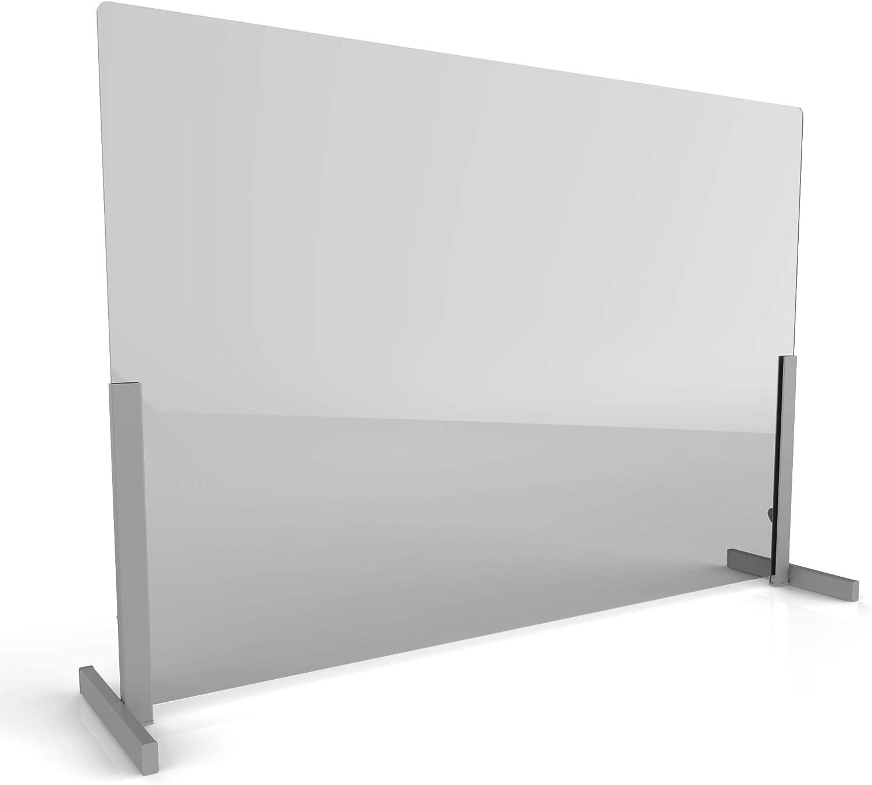 "Linea Italia Acrylic Transparent Office Desk Barrier Sneeze Guard Shield Protection, 24"" x 36"", 24"" x 36"" x 0.125"", Clear"