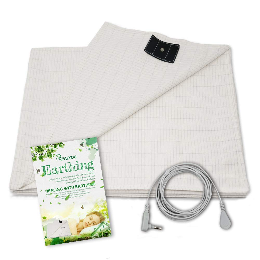 Earthing Sheet with Grounding Cord,Flat Sheet Earth Beds by Grounding Cotton Silver Conductive EMF Protection from Health (76X80inch)