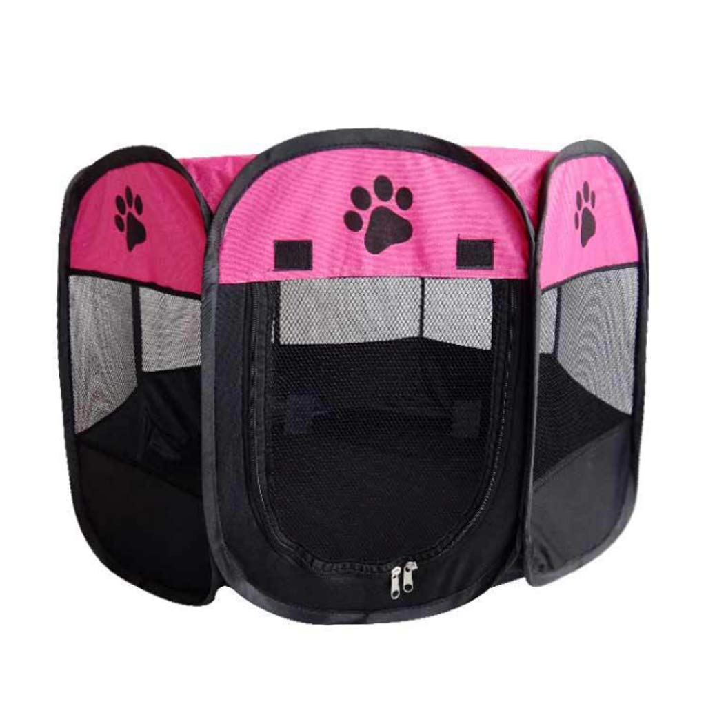 pink Red 73X73X43CMAAGWCWWWL Pet Dog Cat Playpen Cage Crate  Portable Folding Exercise Kennel  Indoor & Outdoor use