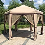 Kinbor 12'x 8' Outdoor Patio Iron Gazebo Canopy Garden Backyard Tent with Mesh Side Walls