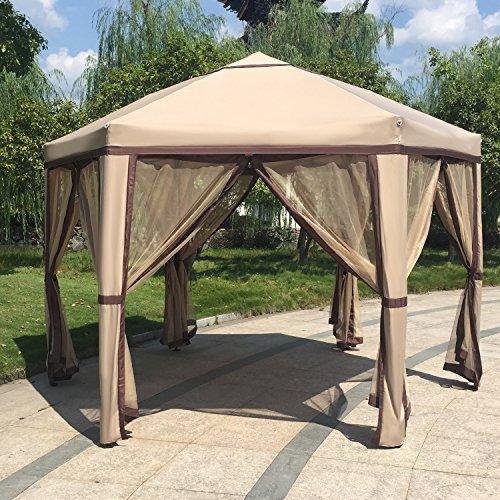 Kinbor 12'x 8' Outdoor Patio Iron Gazebo Canopy Garden Backyard Tent with Mesh Side Walls (Gazebo Iron)