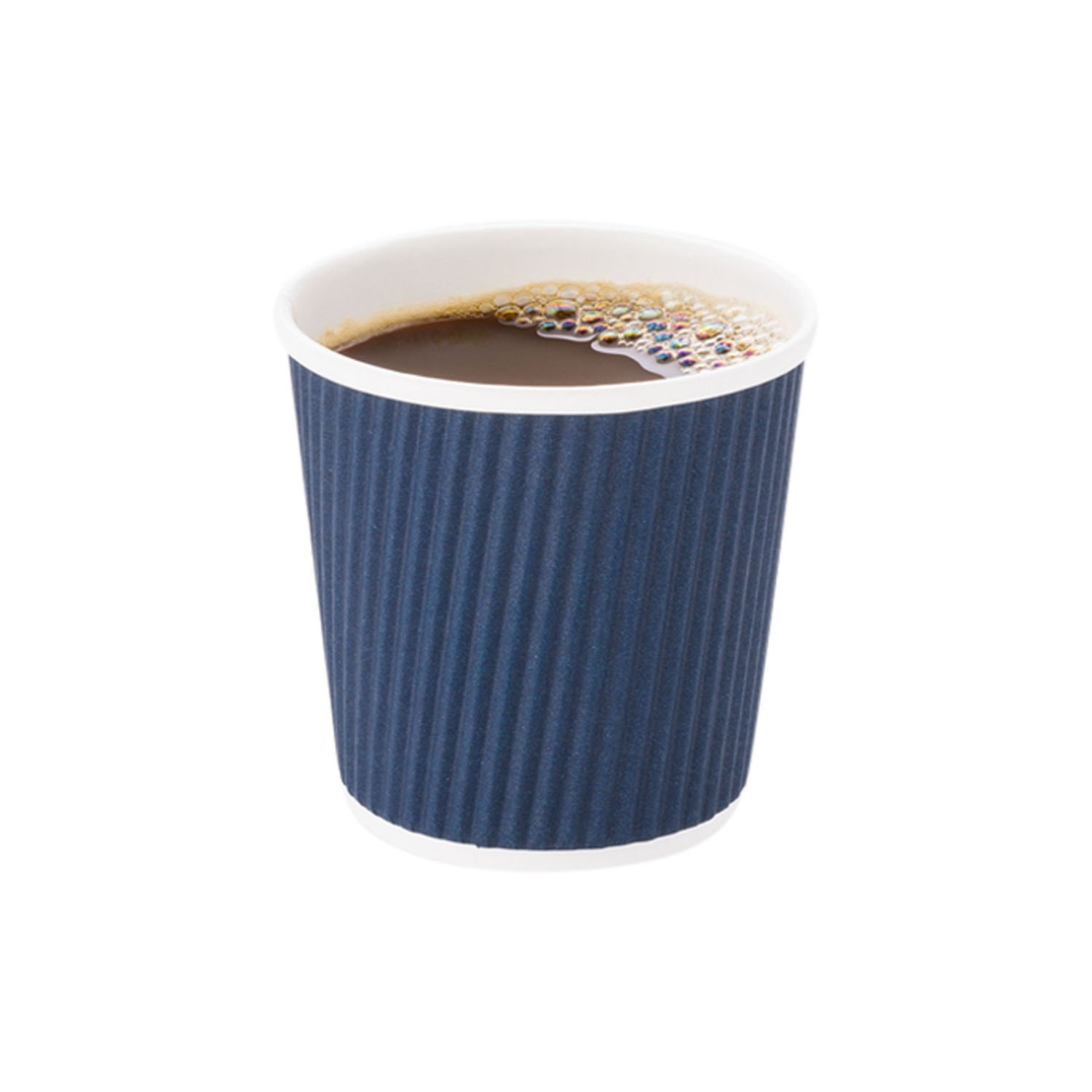Disposable Paper Hot Cups - 500ct - Hot Beverage Cups, Paper Tea Cup - 4 oz  - Midnight Blue - Ripple Wall, No Need For Sleeves - Insulated - Wholesale
