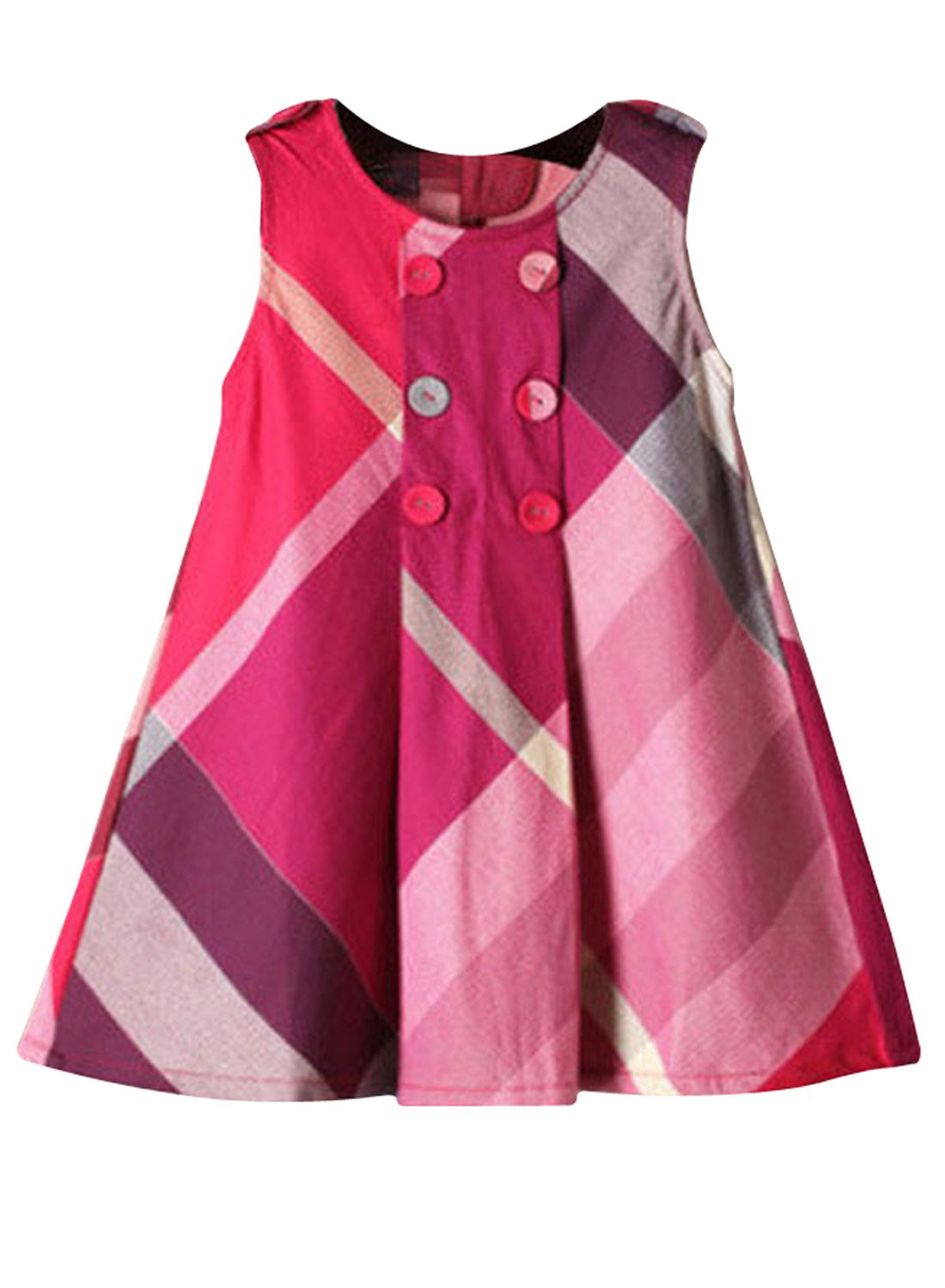 Yinggeli Little Baby Girls Long Sleeve Plaid Checked Princess Dress (2-3 Years, A-Rose Red)