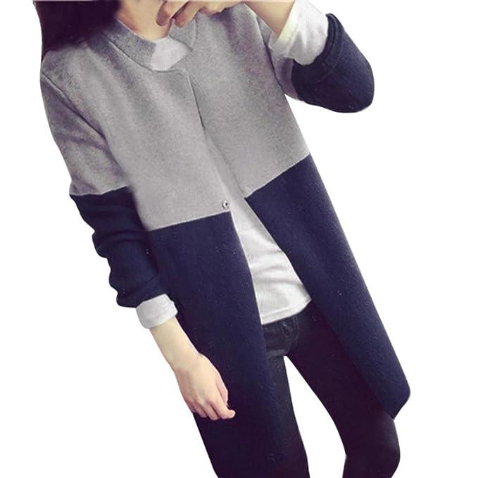 15d1119bdb84 Photno Warm Jackets Women Long Cardigans Color Block Open Front Long ...