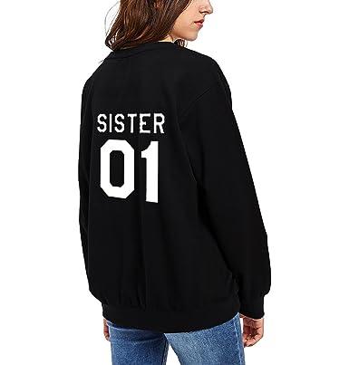 JWBBU Sudaderas Mejores Amigos para Mujeres Par Suéter Impresión Sister 01 con Capucha Manga Larga Sweater