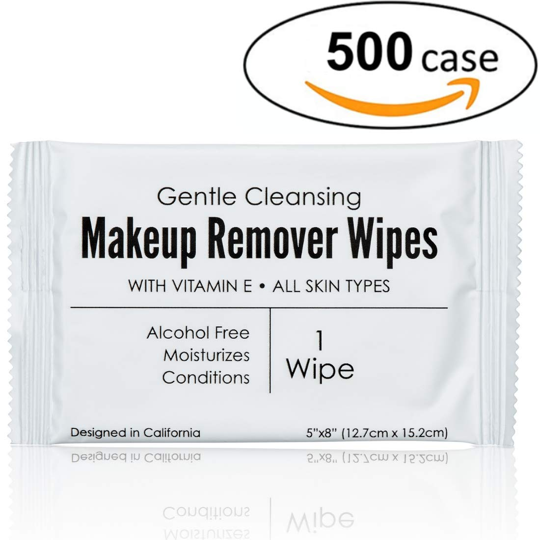 World Amenities - Bulk Makeup Remover Wipes | 500 Count $0.09 unit | Individually Wrapped, Gentle Cleansing, Alcohol Free - All Skin Types - Vitamin E - 100% Recyclable, Hotel Travel Size Toiletries