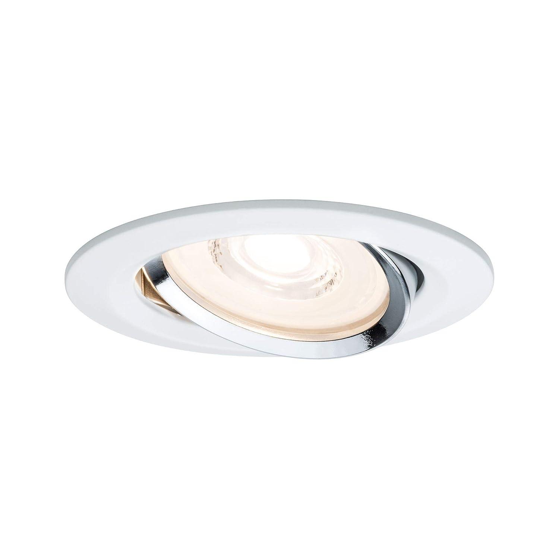 Paulmann Leuchten Paulmann 93942 LED Reflector Coin Flache Einbaustrahler 3x6,8W Deckenspot Weiß dimmbar und schwenkbar Akzentbeleuchtung Einbauleuchte, Aluminium, 6.8 W, Chrom