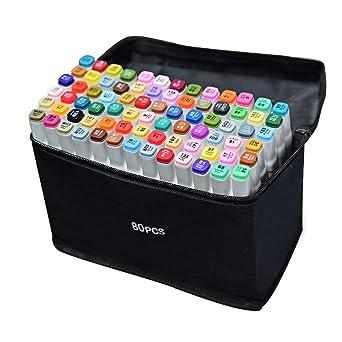 Amazoncojp 80色 マーカーペン イラストマーカー 2種類のペン先 太字