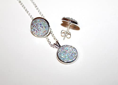 6 12 5 7 9 8 4 Silver Druzy Necklace /& Dangle Earrings Jewelry Set  10 mm resin  Bridesmaid gift set of 3