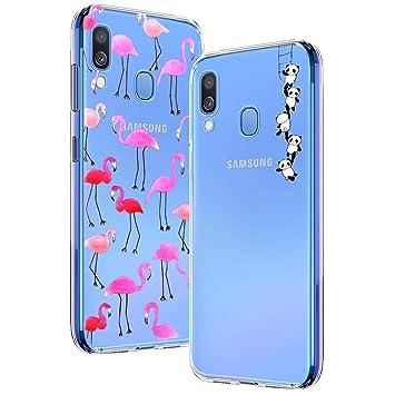 Yoowei [2-Pack] Funda para Samsung Galaxy A40, Transparente con Dibujos Ultra Fino Suave TPU Silicona Protector Carcasa para Samsung Galaxy A40 ...