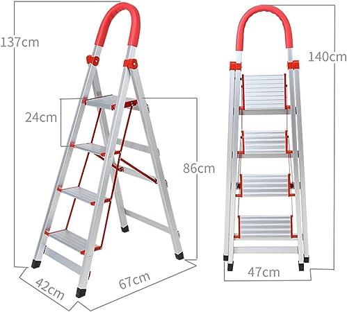 XB-ZDT Escalera 3 Peldaños Aluminio, Escalera 4 Peldaños,Escalera Plegable De Aluminio para El Hogar, Soporta 150 Kg, Pedales Ensanchados, Tapetes Antideslizantes Seguro Y Seguro: Amazon.es: Hogar