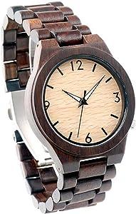 Full Ebony Bamboo Wooden Watch for Men Women Unique Design Quartz Wood Band Wrist Watches (Ebony)