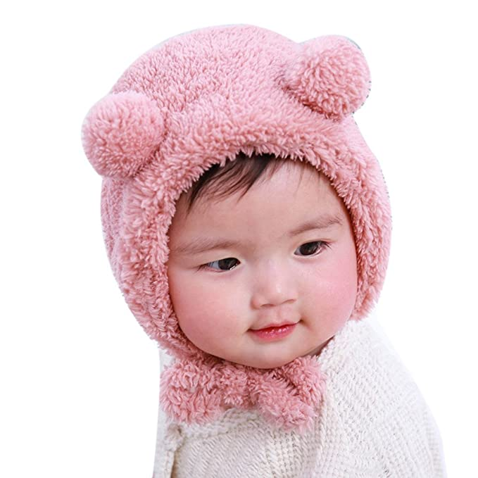 de6821fb33ce9d CATSAP Fluffy Beanie Hat Cute Bear Ear Plush Cap with Earmuffs Baby Toddler  Girls Boys Warm