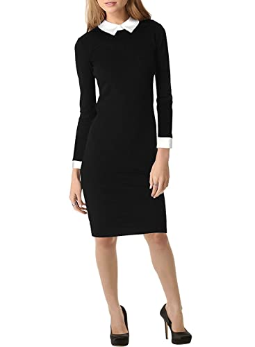 Women's Formal Turn Down Collar Long Sleeve Pencil Evening Business Dress
