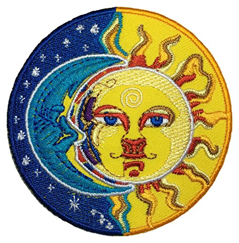 [Papapatch Moon and Sun Half 2 Face Art Costume DIY Applique Embroidered Sew Iron on Patch - Blue & Yellow] (Face Painting For Lion Costume)