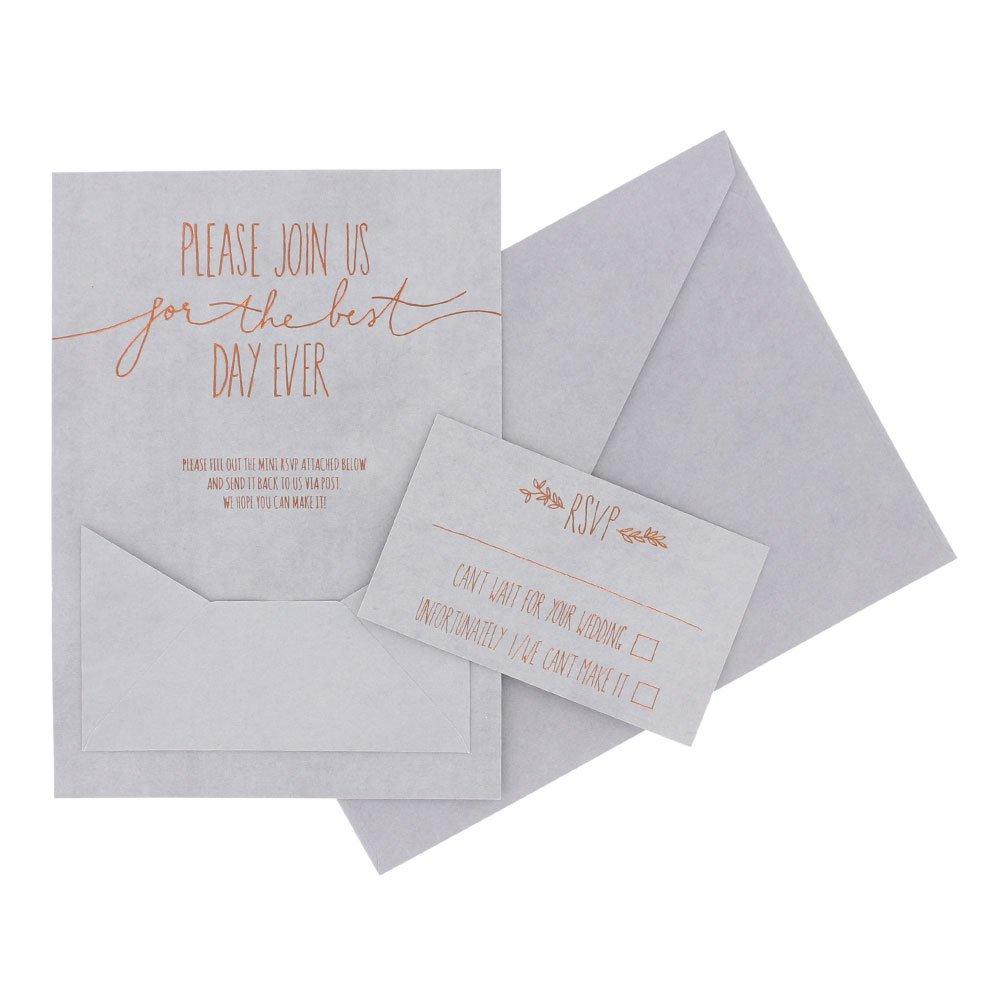 Paperchase Grey kraft wedding invitations - box of 10: Amazon.co.uk ...