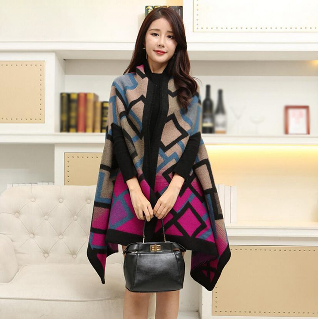 Longless Mantón bufanda hembra doble uso otoño e invierno invierno largo apartado wild espeso manto chaqueta gruesa