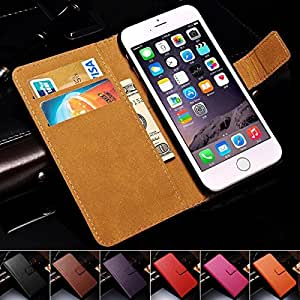 50 Pcs/Lot DHL Genuine Leather Wallet With Stand Case For iPhone 6 Plus 5.5 Inch Phone Bag with Card Holder Wholesale In Stock --- Color:Red