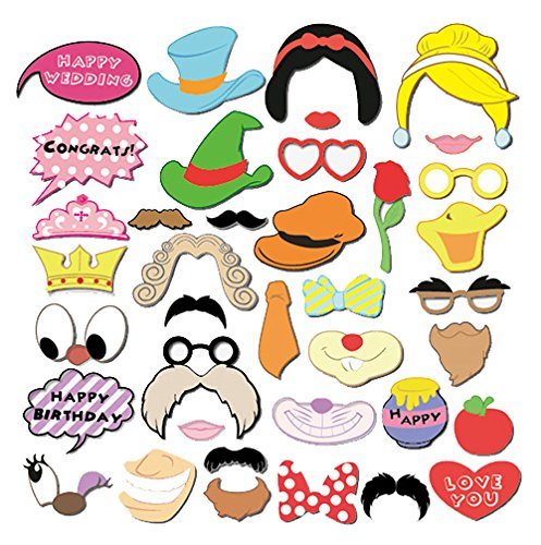 Newest 38pcs Photo Booth Props Panel Hen Party Accessories for Wedding Baby Birthday Anniversary Newborn Party Shower Decor