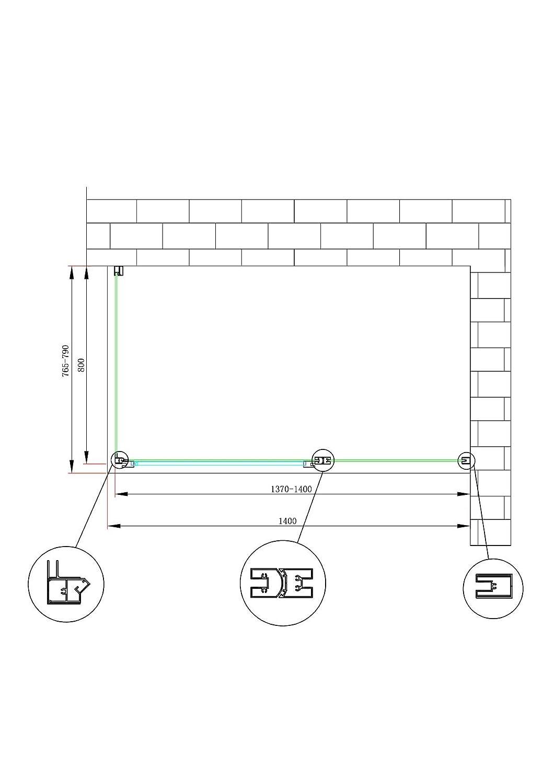 71.5-74 Fissa x 117.5-120.5 Porta Laneri Box Doccia a Due Lati con Apertura Battente Fissa in Linea Parete Laterale Fissa Reversibile