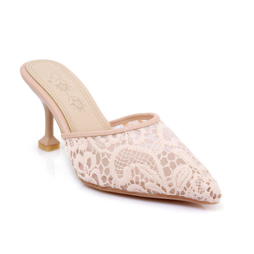 Damen Sandalen Flip Wies Flip Sandalen Flop Lace Net Garn Fein mit Rosa 40 49ba3b
