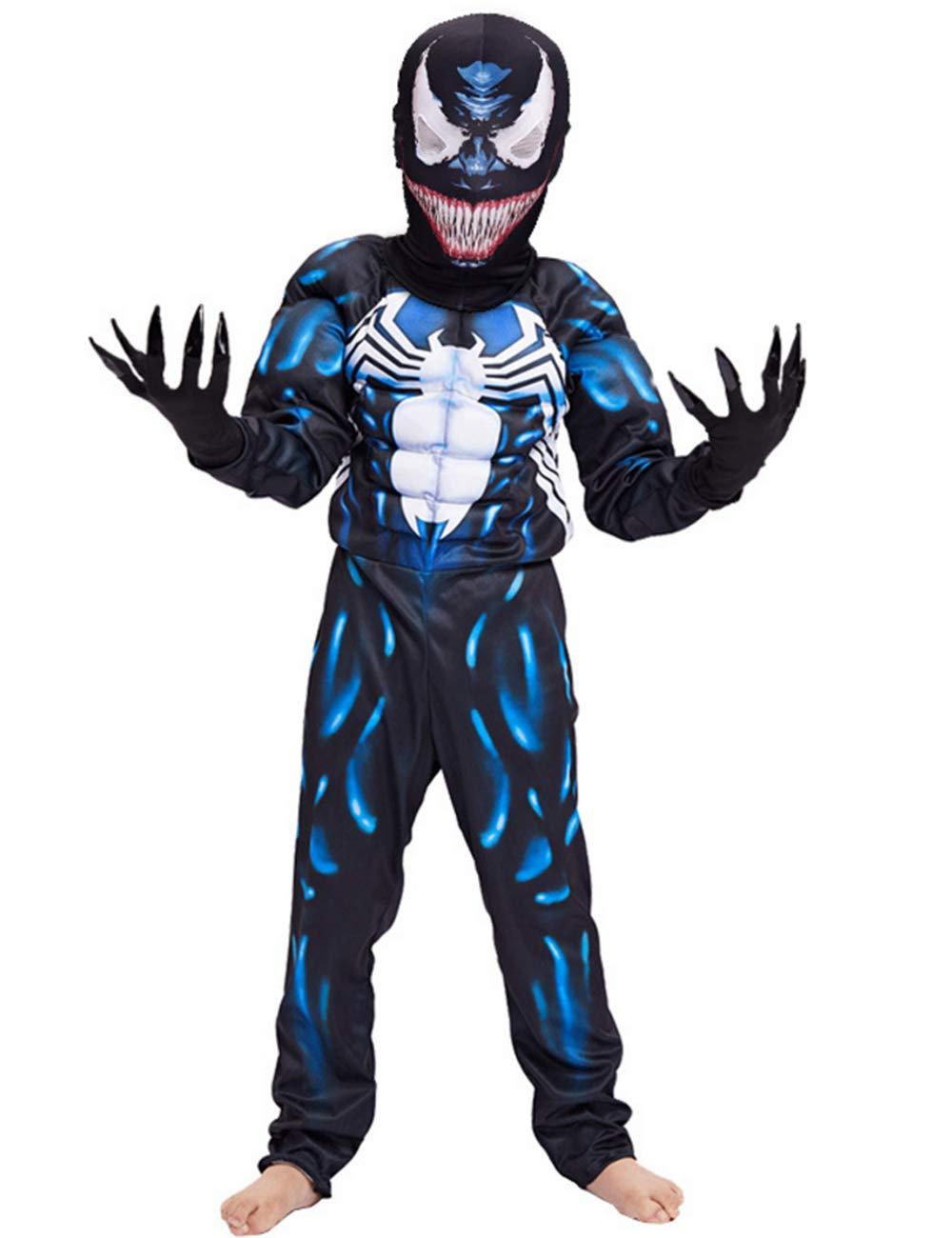 Kids Superhero Costume Suit 3D Spandex Unisex Jumpsuit Bodysuit for Kids Aged 5-13 (Venom, S for Height 43.3''-49.2''(Aged 5-7))