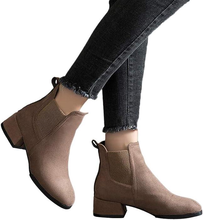 Botas de Mujer otoño, Moda Zapatos de Punta Redonda Botines de tacón Grueso Slip-On Gamuza Color sólido Boots Absolute