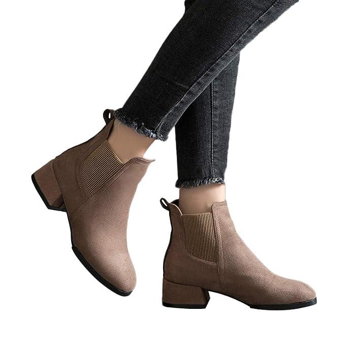 ❤ Botas de Mujer otoño, Moda Zapatos de Punta Redonda Botines de tacón Grueso Slip-On Gamuza Color sólido Boots Absolute: Amazon.es: Ropa y accesorios